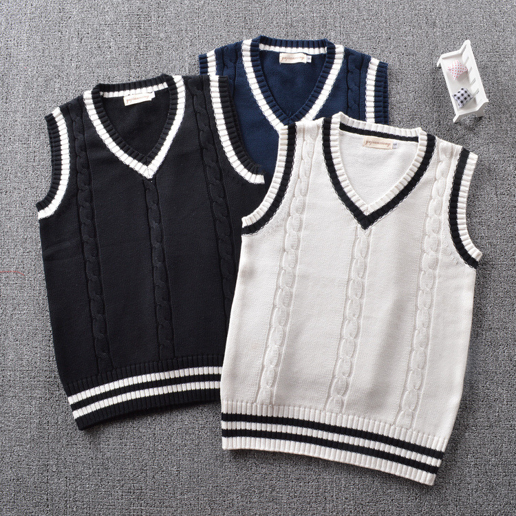 Vest sweater vest V-neck T-shirt boys and girls school uniform college style class uniform primary and secondary school students performance chorus uniform