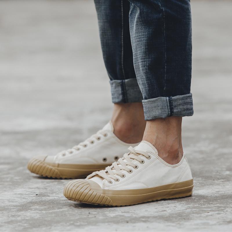 moon日本冈山久留米硫化鞋star情侣白色低帮复古小众帆布鞋男女潮