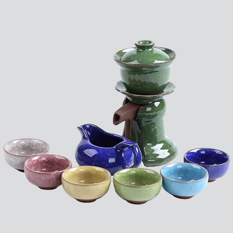 正揚 冰裂七彩自動茶具 整套功夫茶具套裝陶瓷懶人泡茶器自斟茶杯