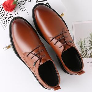 夏季透气男士商务休闲皮鞋真皮软底韩版英伦内增高上班正装男鞋子