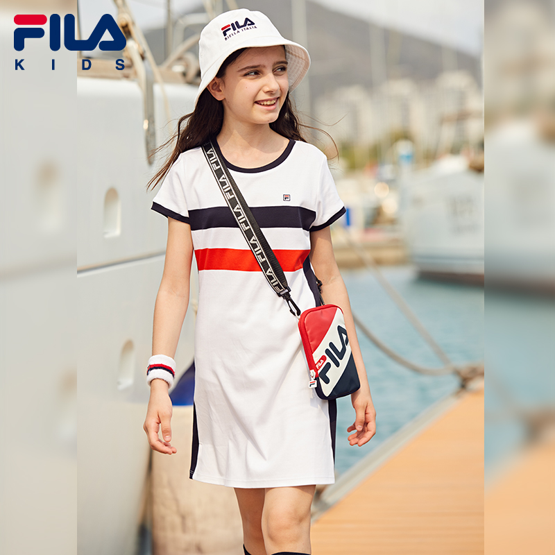 FILA FILA children's flagship store girls' dress 2020 summer new children's knitting short sleeve elegant skirt