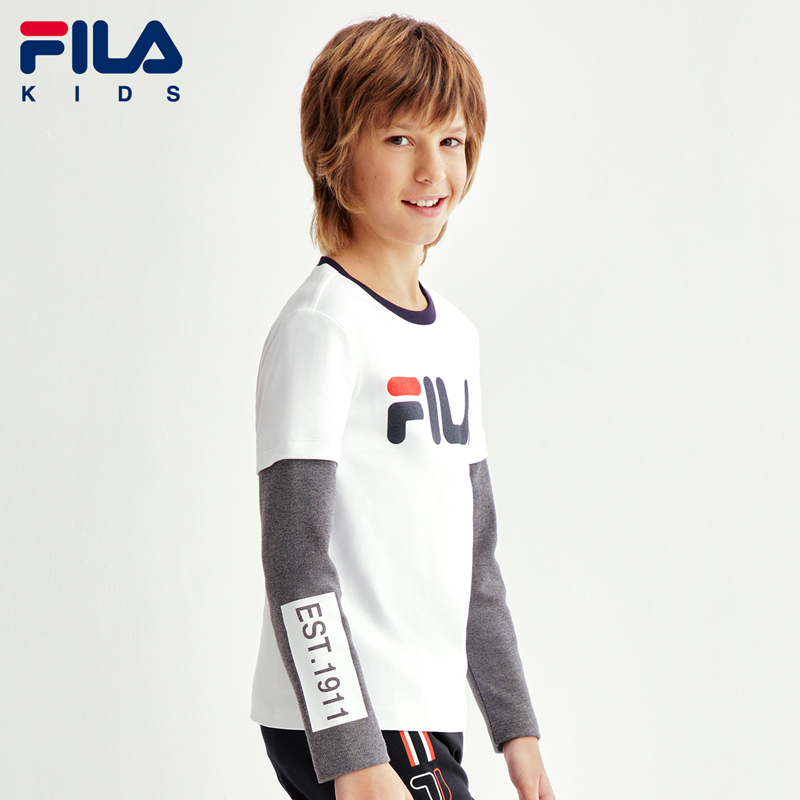 FILA children's flagship store boys' T-shirt 2020 spring new children's holiday two long sleeve bottoms trend