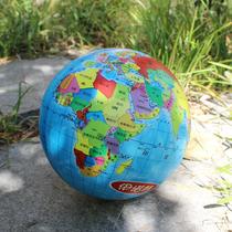 伊诺特8.5寸彩印世界地图球 宝宝认知球地球仪玩具充气弹力小皮球