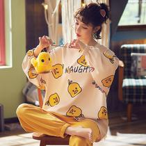 睡衣女士纯棉春秋季长袖两件套装卡通可爱秋冬休闲可外穿款家居服