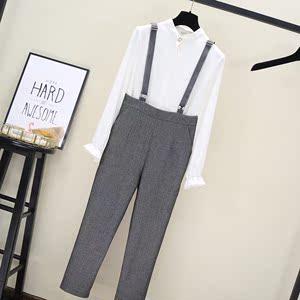 背带裤女2020新款春装韩版时尚高腰侧拉链灰色显瘦小脚九分哈伦裤