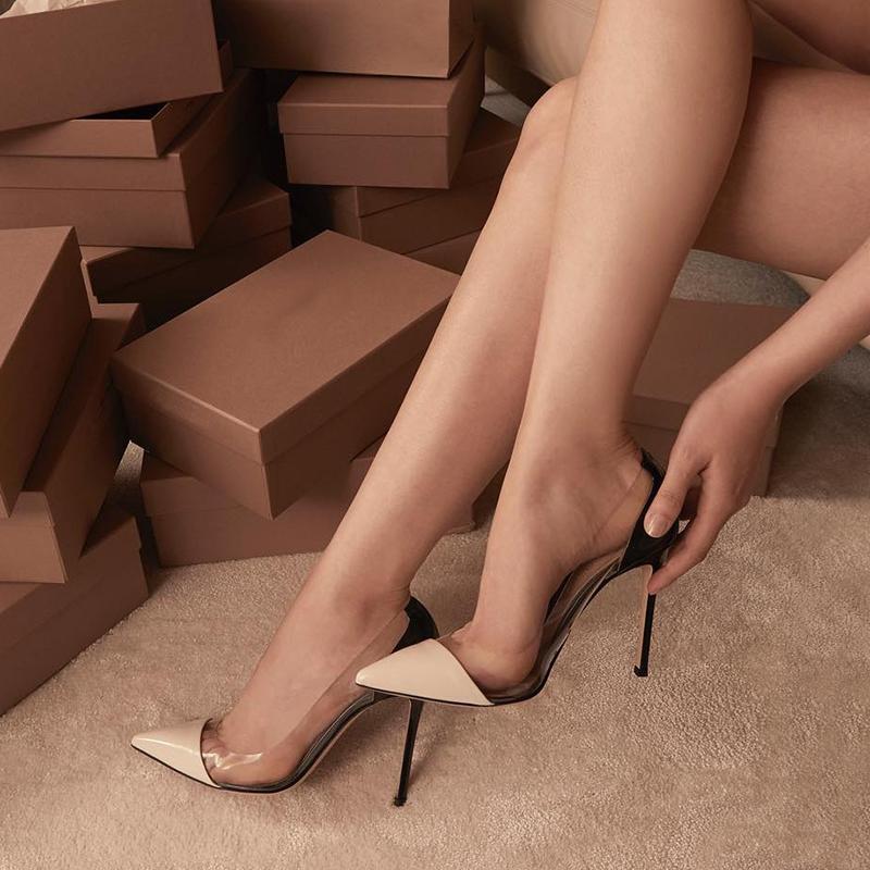 秋款尖头单鞋透明裸色小清新高跟鞋女细跟秋2019新款网红夏款百搭