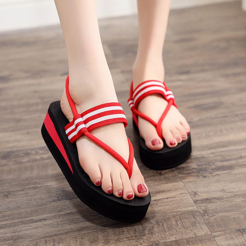 chic凉鞋拖鞋两穿女夏季坡跟防滑2019网红凉拖时尚厚底沙滩人字拖