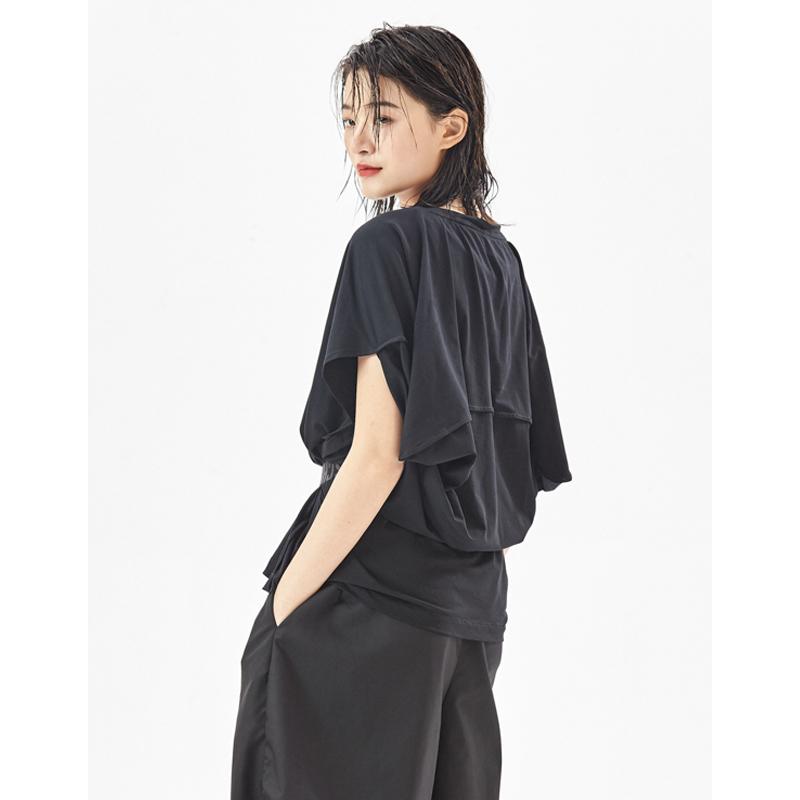 2021新款个性后兜设计t恤女圆领宽松YBS原创夏季街头百搭短袖上衣