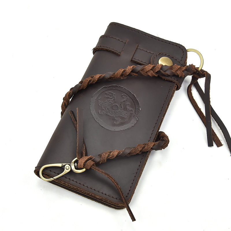 Black pattern thick head layer cowhide Long Wallet mans crazy horse leather retro hand bag leather anti theft leather rope Wallet