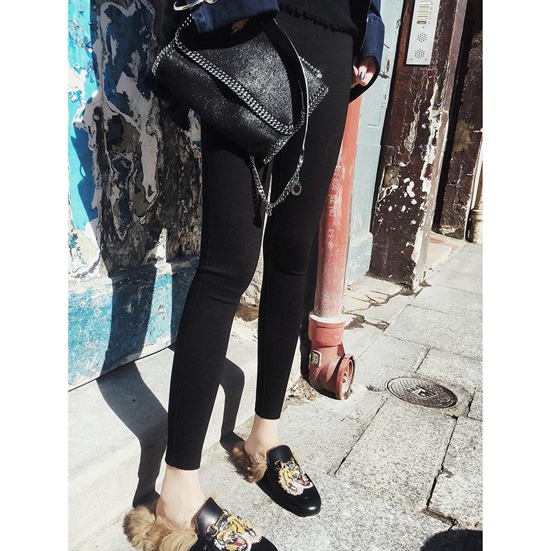 张贝贝2018春秋新款女装韩版高腰铅笔裤小脚裤黑色外穿打底