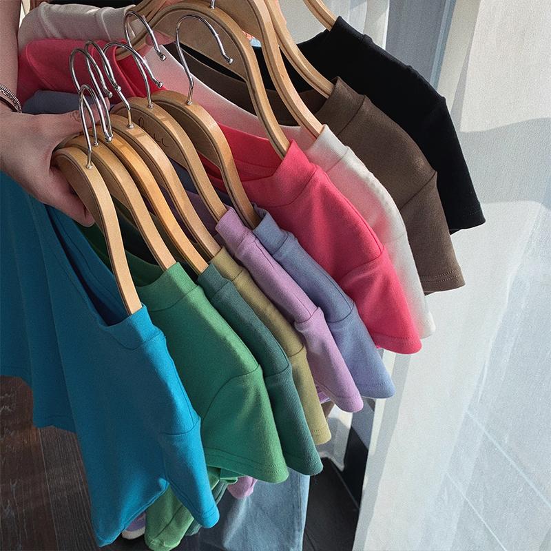 张贝贝ibell网红短款上衣ins潮小众设计2020年新款多色短袖t恤女