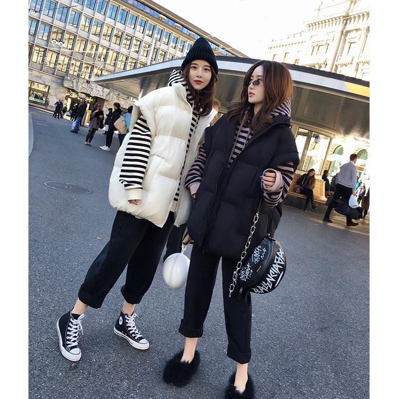 张贝贝ibell新款韩版简约立领羽绒外套短款显瘦保暖潮无袖马甲女