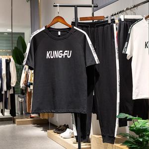 短袖运动套装男装夏季2020新款韩版潮流纯棉衣服男休闲服装两件套