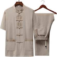 Men's short sleeve linen cotton suit embroidered Chinese loose grandfather's and father's suit