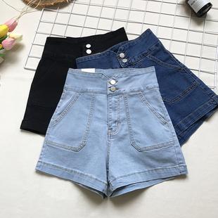 洋气高腰牛仔短裤 包臂显瘦热裤 复古两粒扣弹力修身 女裤 学生韩国夏