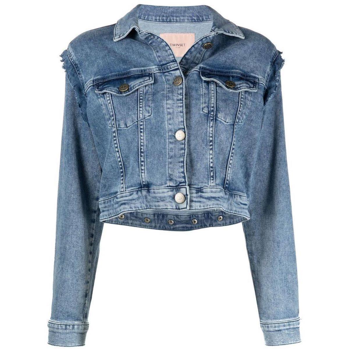 代购TwinSet 荷叶边细节牛仔夹克短外套女士2021新款奢侈品