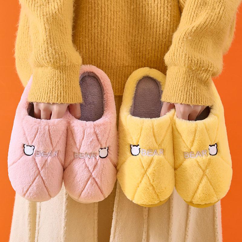 2021年新款秋冬季棉拖鞋女可爱毛绒居家用情侣室内家居厚底男冬天