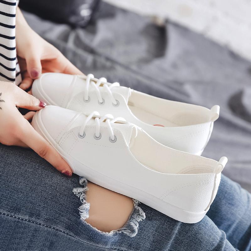 人本浅口小白鞋女2020夏韩版学生百搭皮面帆布鞋显瘦脚小平底板鞋
