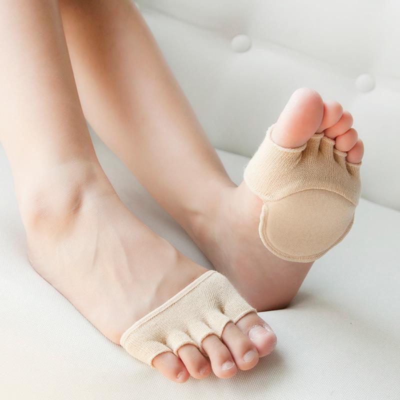 脚趾袜子女五指袜套防滑隐形鱼嘴凉鞋袜潮纯棉春夏半掌露趾船袜女