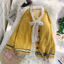 Decrease 10 net red sweater jacket Korean version loose autumn dress 2019 very immortal knitted cardigan foreign style jacket