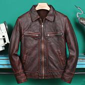 阿美咔叽 头层牛皮 复古石磨做旧真皮皮衣男士短款修身机车皮夹克