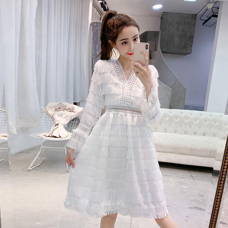 實拍春裝2019女裝新款裙子很仙的法國小眾蛋糕裙白色連衣裙仙女裙
