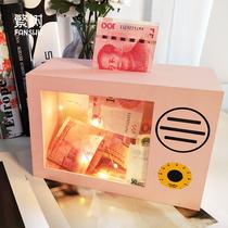 网红创意带锁存钱罐儿童不可取大容量纸钱硬钱只进不出抖音储蓄罐