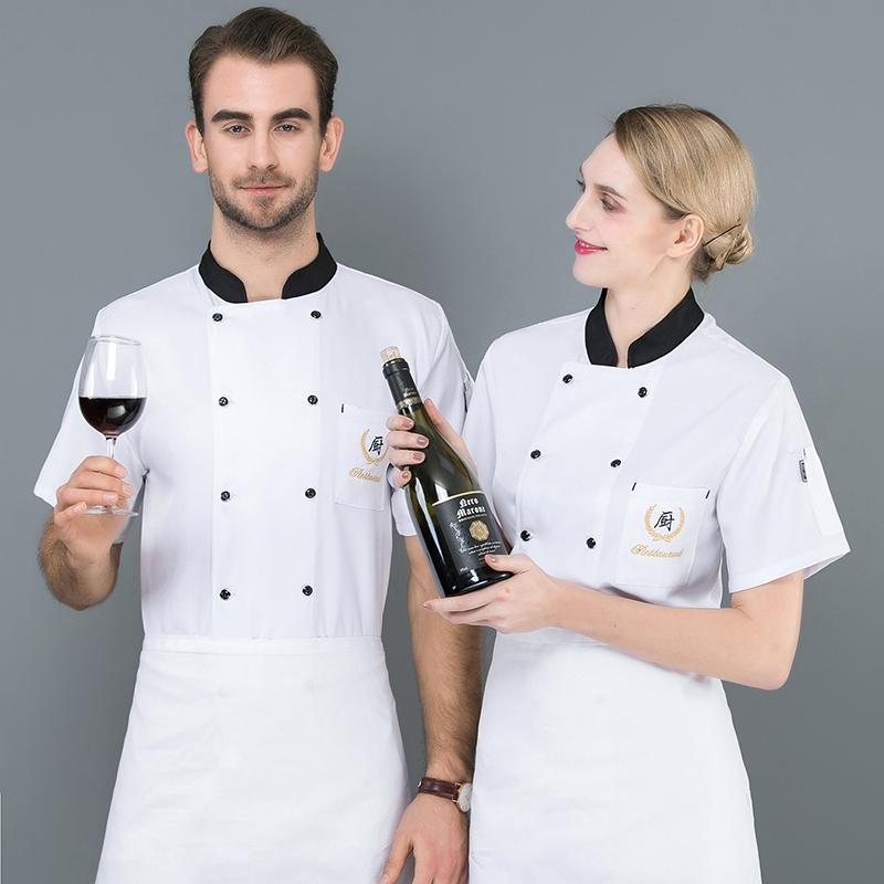 Sweat absorbing breathable chef work clothes summer short sleeved uniform custom logo bakery Hamburg patterned Baker