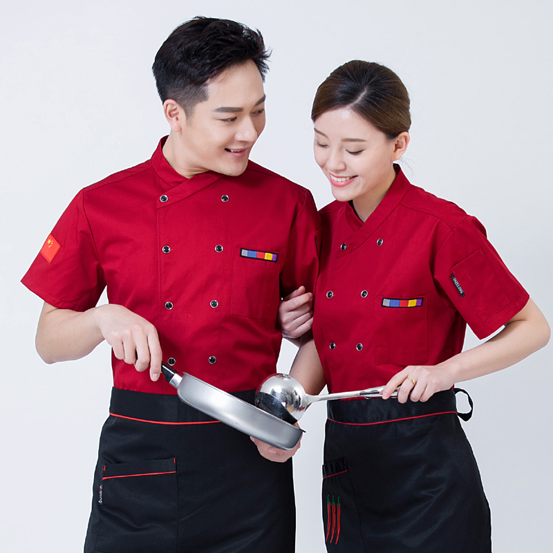 Short sleeve chefs clothes cake shop work clothes breakfast Bakers uniform beef barbecue workers clothes dim sum flower mounting clothes