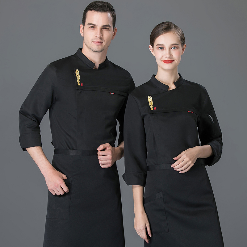 Hotel chefs clothes long sleeved steamed bread restaurant back kitchen work clothes Bakers uniform cake clothes Mounters autumn and winter clothes