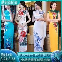 旗袍2019夏年轻款少女复古中国风改良版走秀长款旗袍式连衣裙优雅