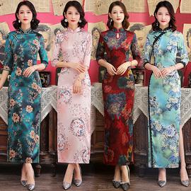 新式改良长袖旗袍年轻款少女2020春夏新显瘦中国风宴会连衣裙优雅