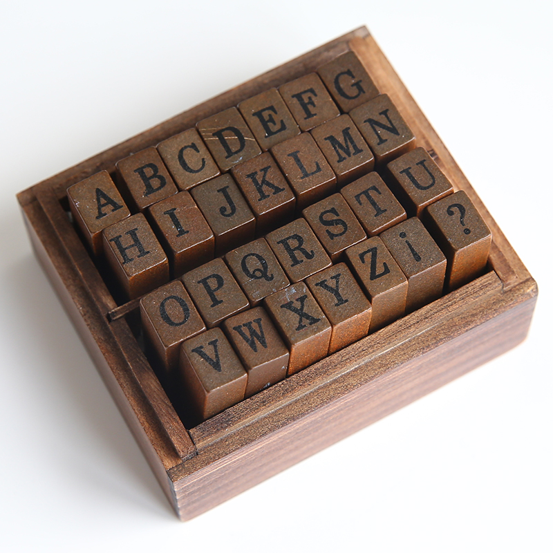 韩国创意复古数字字母印章手帐DIY装饰印章教师学生儿童用木盒装