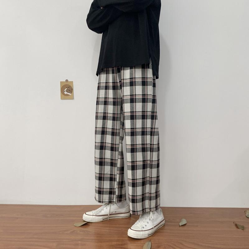 タオバオ仕入れ代行-ibuy99|宽松裤男|秋季男韩版潮流宽松港风格子休闲长裤青少年潮牌直筒阔腿小西裤子