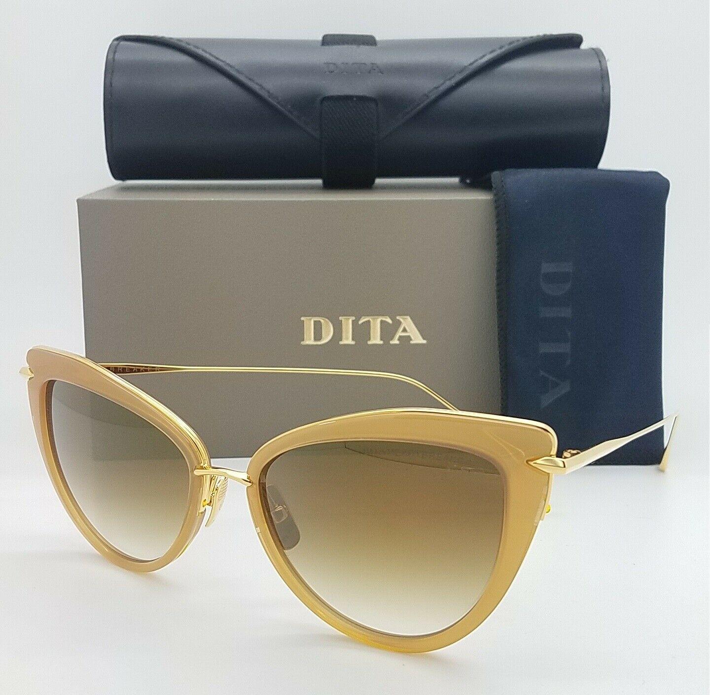 代购DITA 22027-C-BRN-GLD Gold棕色渐变碟形墨镜女太阳眼镜