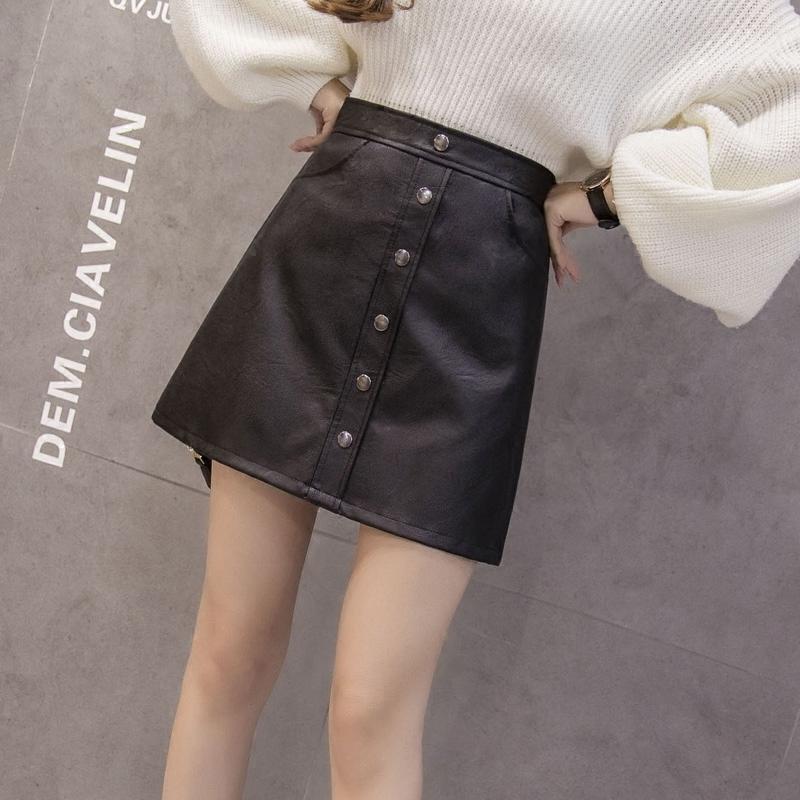 2017秋冬季新款韩版皮裙半身裙女高腰pu小皮裙A字裙包臀裙短裙