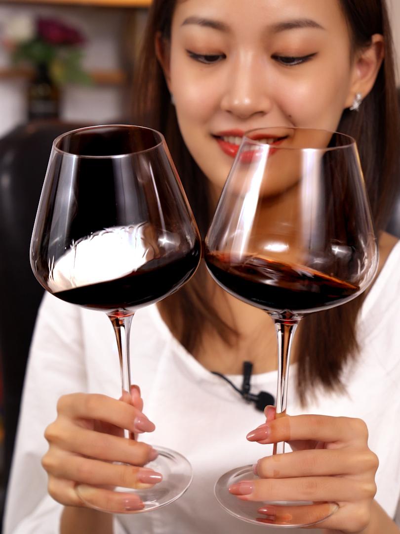 水晶红酒杯高脚杯套装 家用勃艮第超大号葡萄酒杯2个醒酒器欧式
