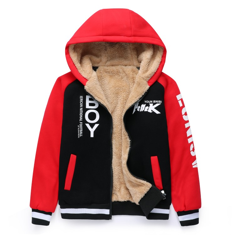 Childrens wear boys sweater coat Plush thickened autumn and winter childrens zipper cardigan sports Hoodie