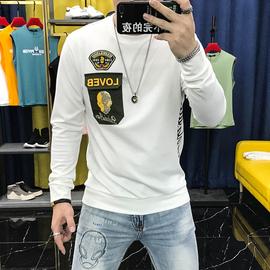 2020秋季圆领卫衣个性潮牌骷髅刺绣口袋薄款休闲长袖T恤男士青年