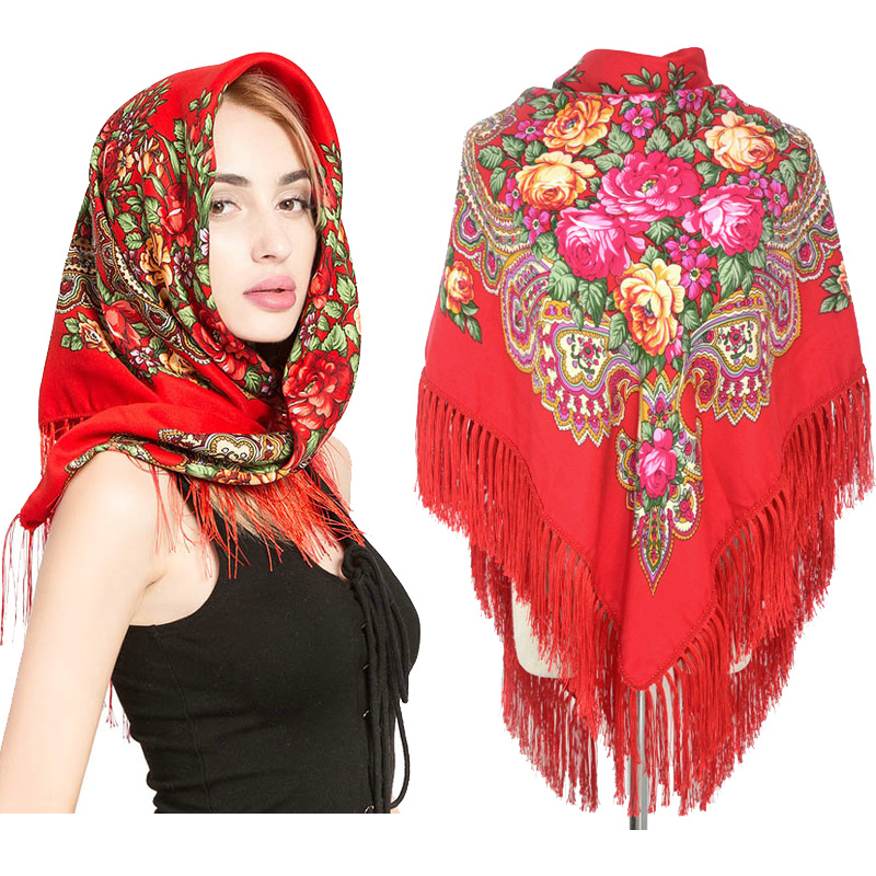Shawl womens national style travel versatile photo scarf Russian generous scarf warm cotton headdress in autumn and winter
