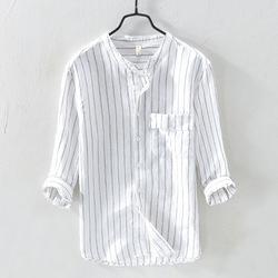 钱塘5056-LZ745 P75条纹长袖棉麻衬衫男文艺宽松亚麻衬衣