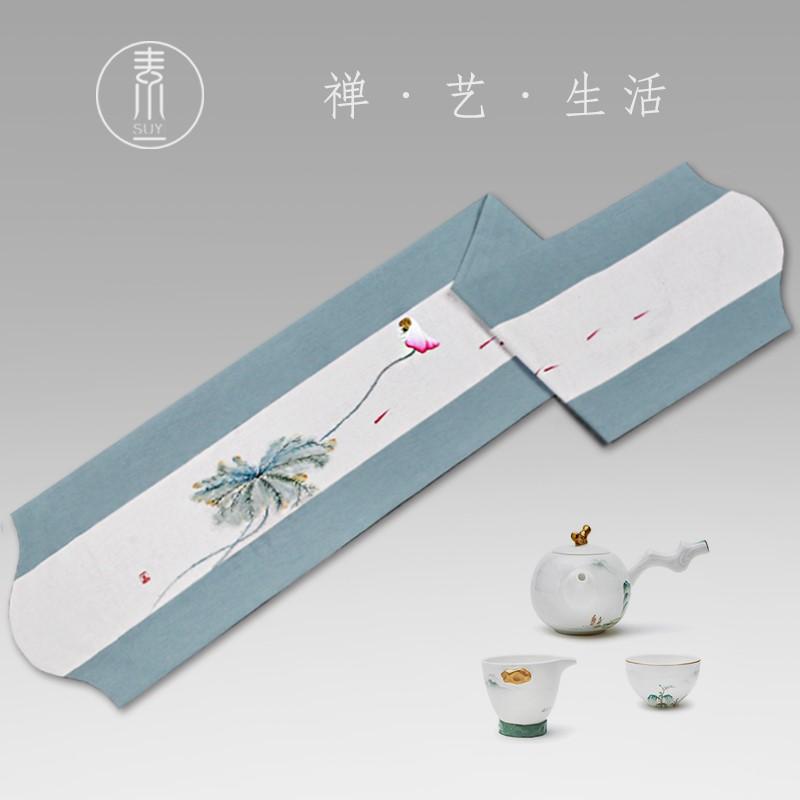 精手绘禅意茶席布棉亚麻布艺中国风中日式茶道布茶旗防水大茶巾定