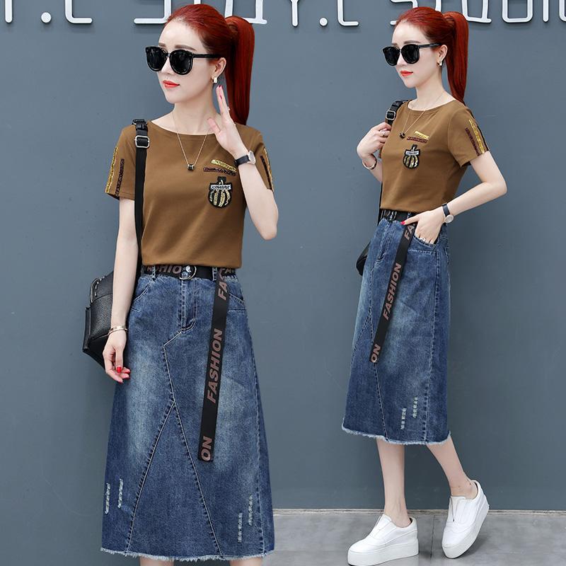 休闲中长款牛仔裙女装2018夏季韩版新款修身连衣裙收腰裙子两件套