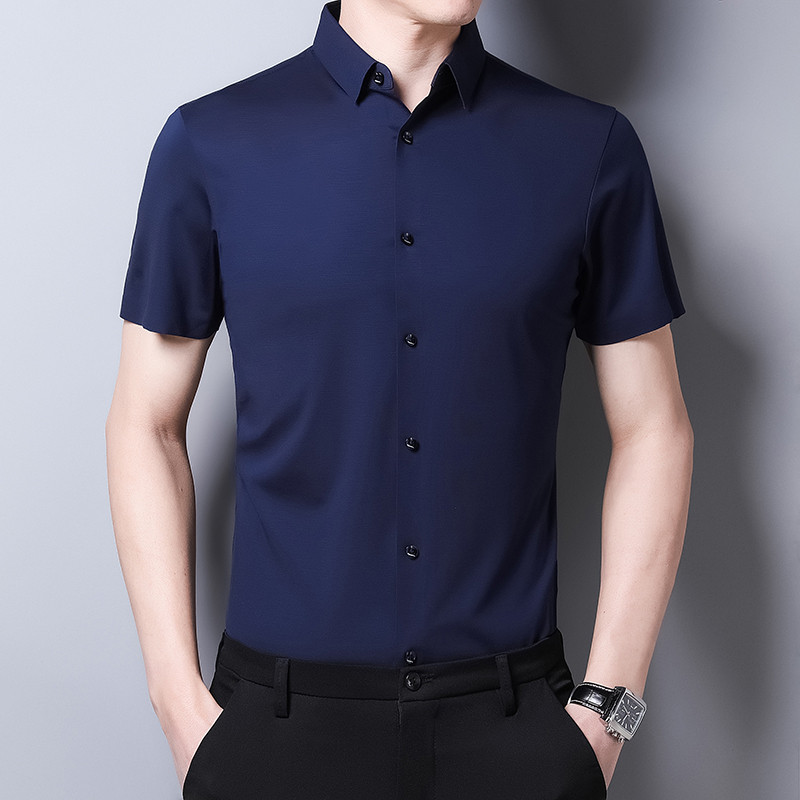 Mens summer solid color short sleeve shirt thin middle and young mens Korean version slim fit wrinkle free iron half sleeve cardigan shirt
