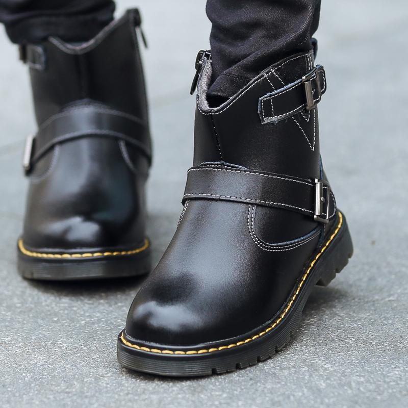 童鞋子2016男童马丁靴儿童短靴男童雪地冬靴加绒中大童男童靴子潮