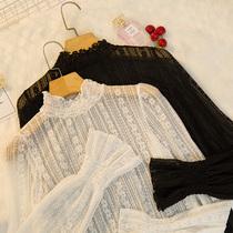 公主风半高领打底衫女秋装2020新款蕾丝内搭超仙洋气小衫网纱上衣