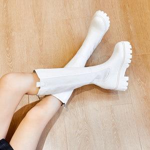 白色靴子内增高显瘦网红爆款高筒马丁靴女春秋超高跟厚底烟筒长靴