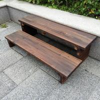 碳化实木脚踏户外阳台踏脚花架两层踩脚双层踏板台阶防腐脚架增高
