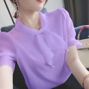 夏新款2020韩版宽松大码雪纺雪纺衫