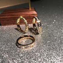 不掉色日韩版时尚满钻镀18K玫瑰金钛钢单排钻戒指男女食指环饰品